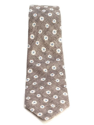 DIY tie - Flower Print Cotton Linen Luxury Italian Tie-Tan