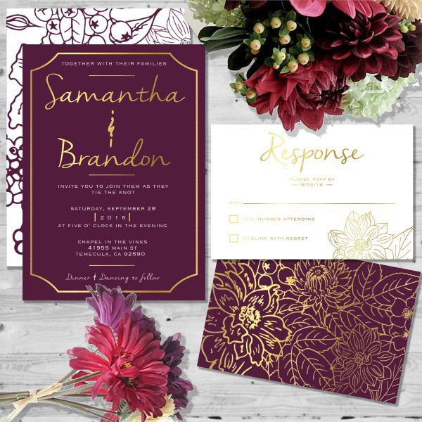 Beautiful in Burgundy by HeartOfOpal on Etsy  #wedding invitations