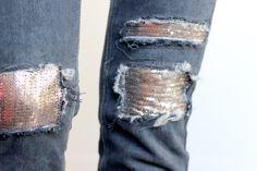 blog DIY Artlex, Blogueuse DIY, couper un jean, customiser un jean, cut denim, cut jeans, destroy denim, destroyed denim, DIY jean, DIY jeans, faire des trous dans son jean, jean à paillette, mettre des sequins sur son jean, raccourcir un jean trop long, teindre un jean