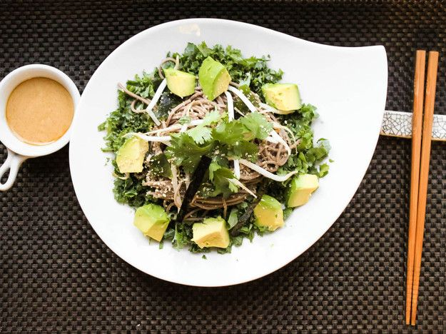 Cold Soba Noodles With Kale, Avocado, and Miso-Sesame Dressing