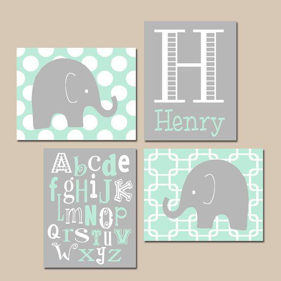 ELEPHANT Boy Nursery Wall Art CANVAS or Prints Mint Gray