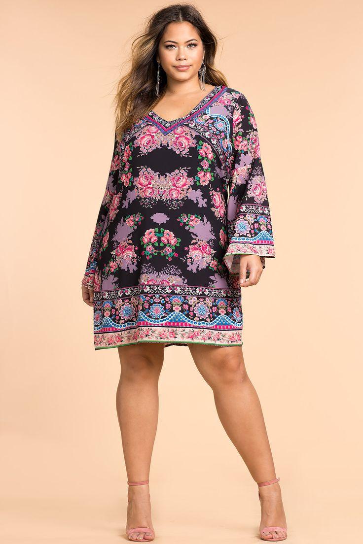 Plus Size Cantina Floral Shift Dress (plus size) #plussizefashion #dress