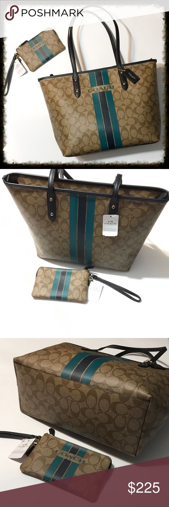 """Coach Varsity Tote and Matching Wristlet Teal and navy stripes Coach tote bag with zipper top and matching wristlet. 100% authentic coach products. Both are brand-new with tags attached. These will make an excellent gift. Wristlet is 6"""" x 4"""". Tote is 16"""" x 10.5"""". Coach Bags Totes"""