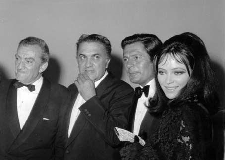 Imagine the Cool factor in that room! 1967 - 28TH Venice INTL. FILM FESTIVAL : Luchino Visconti, Federico Fellini, Marcello Mastroianni and Anna Karina