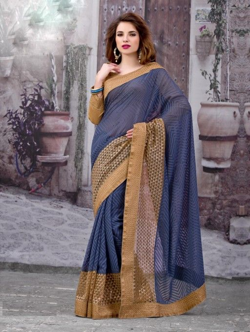 Blue and Beige Pure Georgette Saree with Embroidery Work