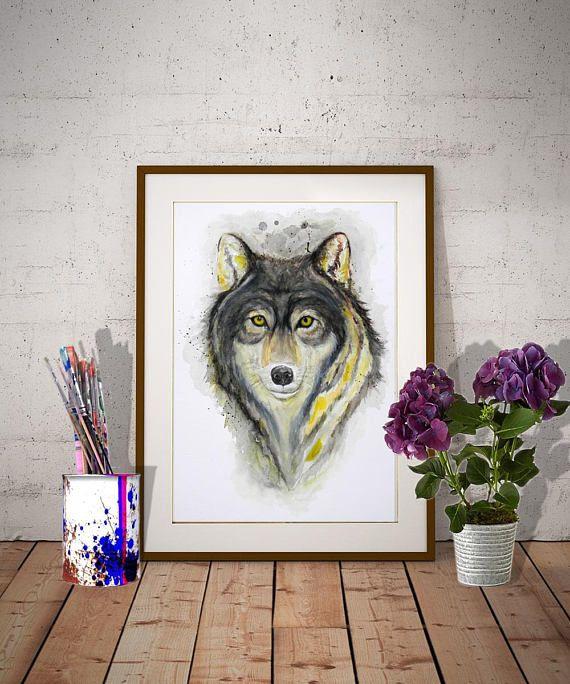 Wolf Head Original Watercolor portrait Wolves Wall art Animal