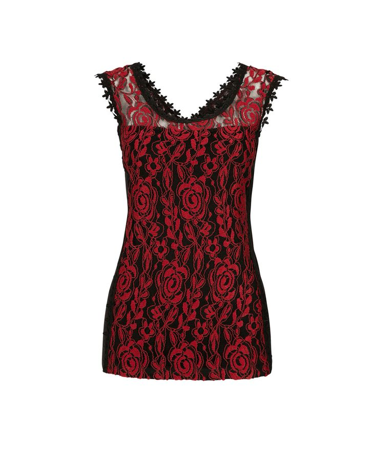 Lace Overlay Top, Black/Rouge