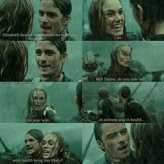 Will Turner & Elizabeth Swann- Dying because this was literally the sweetest and best thing ever and then Will was stabbed DX