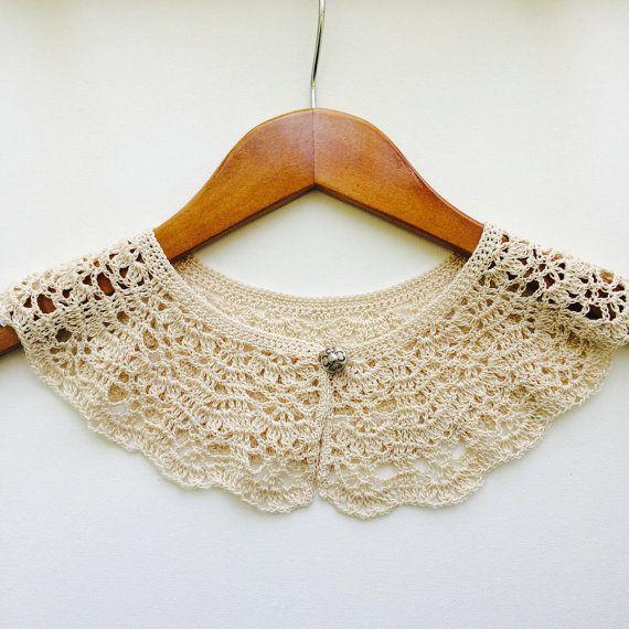 Cuello Peter Pan de Encaje tejido a Crochet, Cuello a la Moda con Perlas, Para Ella, Hecho a Mano, ideas para Regalo, Regalos Únicos