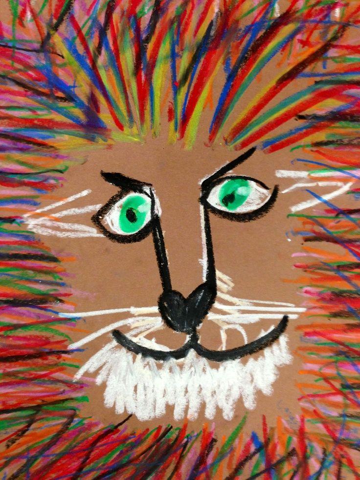 Lion crinière craies grasses