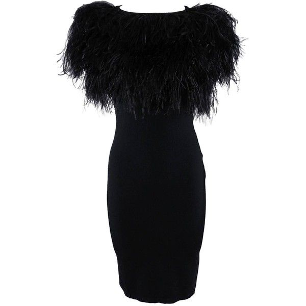 Pre-owned Giambattista Valli Black Ostrich Feather Trim Dress ($550) ❤ liked on Polyvore featuring dresses, short dresses, day dresses, preowned dresses, tube dress, vintage black dress, black tube dress and vintage dresses