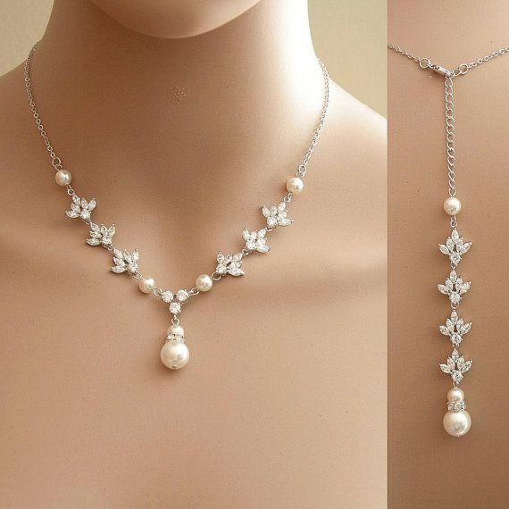 Backdrop Wedding Necklace Crystal Backdrop Necklace Pearl Cubic Zirconia Bridal Necklace