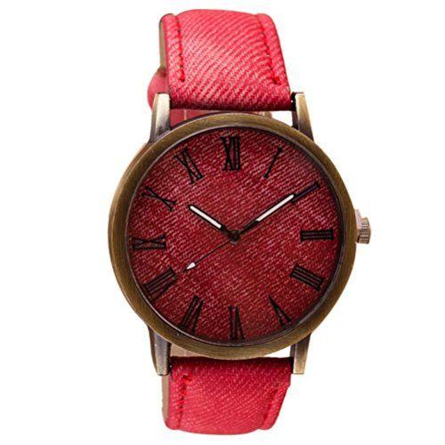 Reloje Hombre,Xinan Banda Cuero Retro del Reloj Voga Vaquero Analógico Reloj de Cuarzo (Rojo)