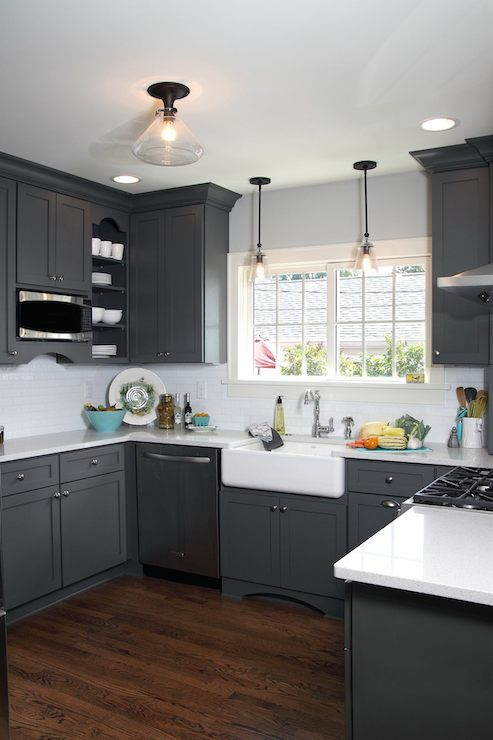 Beautiful U Shaped Kitchen With Dark Gray Shaker Cabinetry Which Pairs With Nick Grey Kitchen