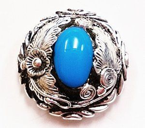 """Decorative Antique Silver Screw Post/Rivetback Concho with Turquoise Center 1 1/4"""""""