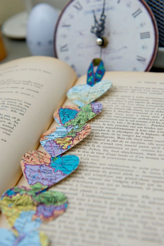 Vintage French Maps BOOKMARK Hearts of the World by LaMiaCasa