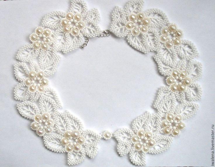 Купить Ожерелье-воротник с жемчужными цветами - белый, воротник, воротничок съемный, воротничок ажурный