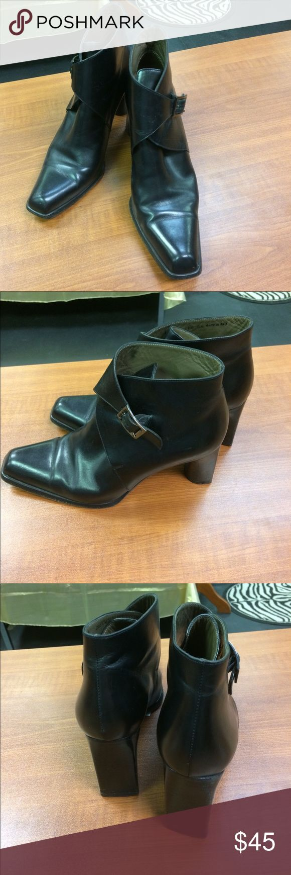 "Women's black buckle ankle boots Really cute black buckle ankle boots with 4"" heel.  Very stylish boots in excellent condition Bally Shoes Ankle Boots & Booties"