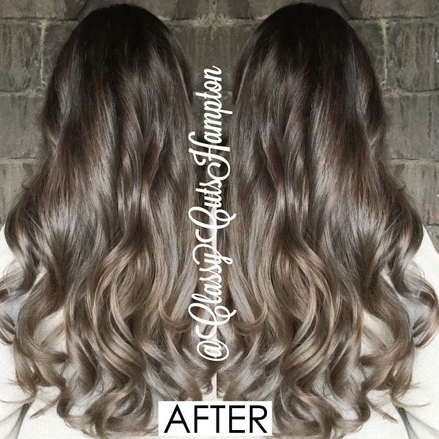"""""""And here is the amazing after!!  goodbye copper and line of demacation! Beautiful seamless smokey dark ash brown graduating into a dark smokey blonde.…"""""""