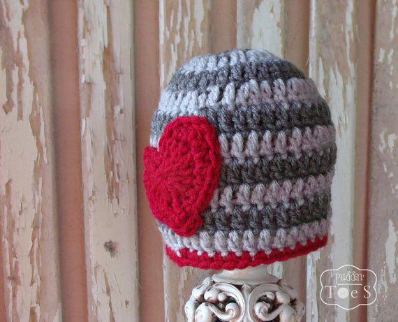 Crochet Valentine Baby Hat Boy Valentine's Day Hat by puddintoes