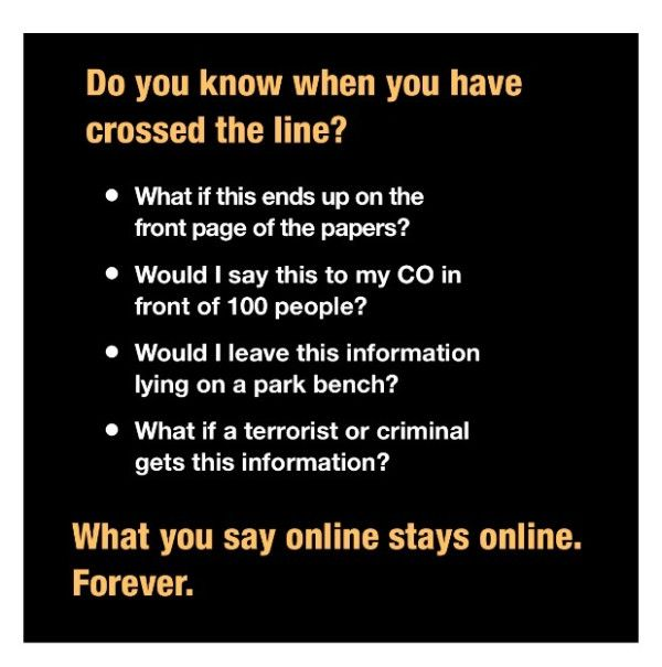 Have you crossed the line? THINK before you Tweet. from @SoldierUK