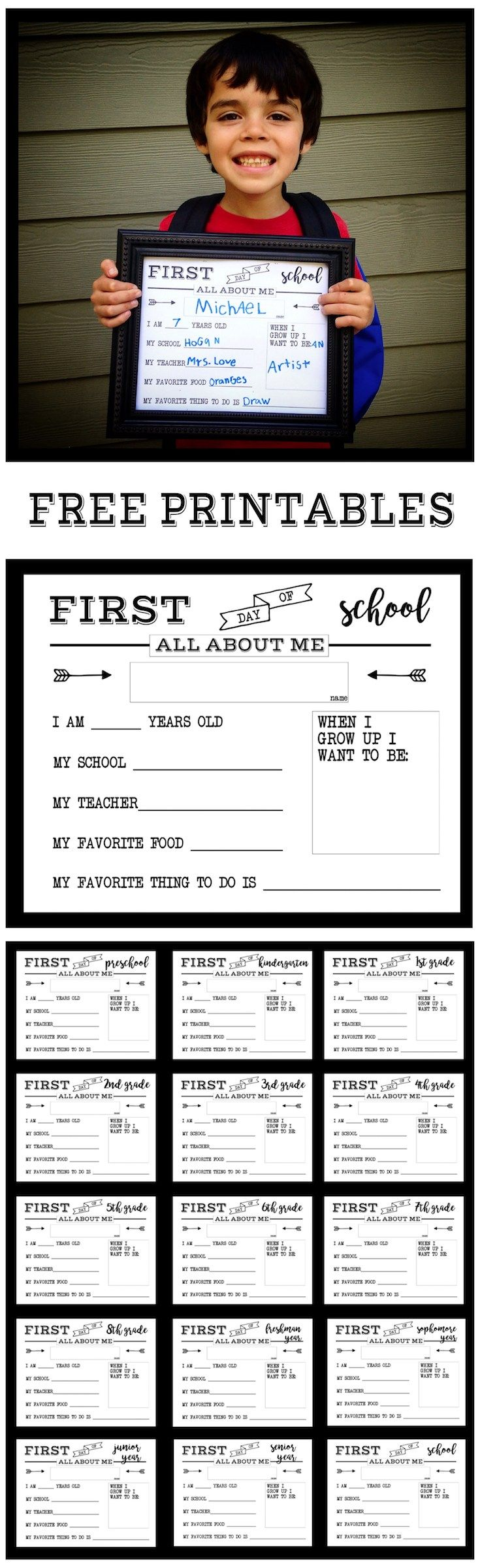 Scrapbook ideas for elderly - First Day Of School All About Me Sign