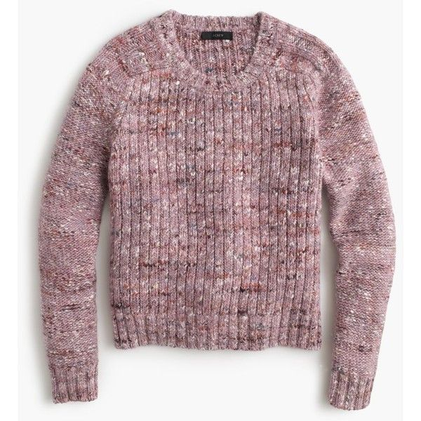 J.Crew Collection Textured Crewneck Sweater ($300) ❤ liked on Polyvore featuring tops, sweaters, shirts, crew neck shirt, j crew shirt, woven shirt, over sized sweaters e marled sweater