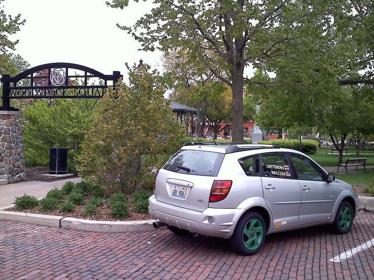 """Fun fact: The Crittenden Automotive Library is based in Woodstock, Illinois, where #GroundhogDay was filmed!  Here's our 2003 Pontiac Vibe AWD at the Woodstock Square Park in 2012. The gazebo in the background was Gobbler's Knob in the film, where the big """"does-the-groundhog-see-his-shadow?"""" scenes were.  You can read more about our hometown's locations that appeared in the film at http://www.movie-locations.com/movies/g/Groundhog_Day.html#.WJMw9YFOKaM"""