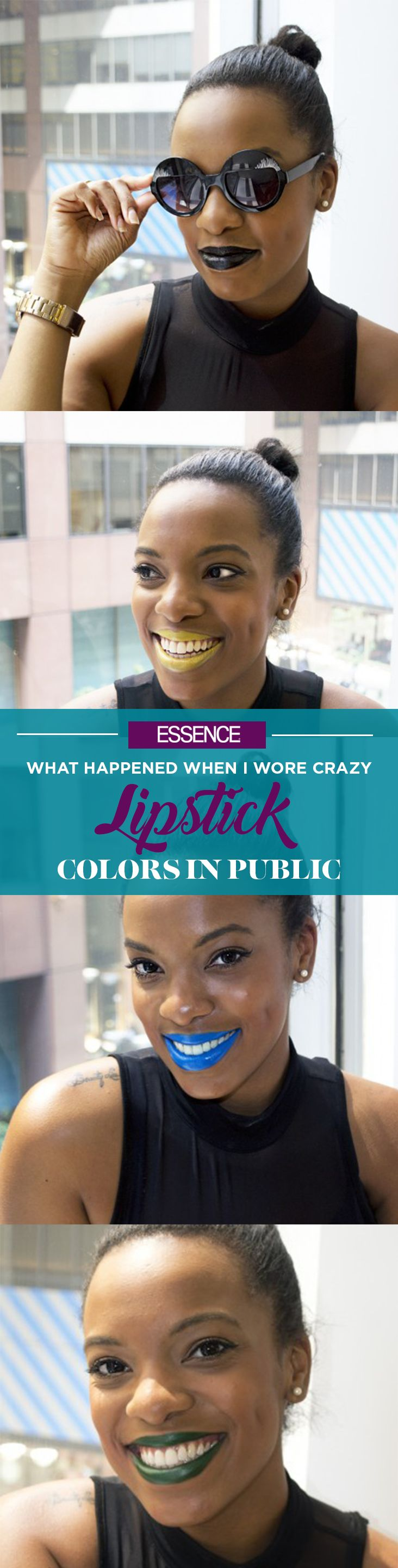 One beauty writer recalls the reactions she got after wearing yellow, black, green, blue and violet lipstick one day. | essence.com