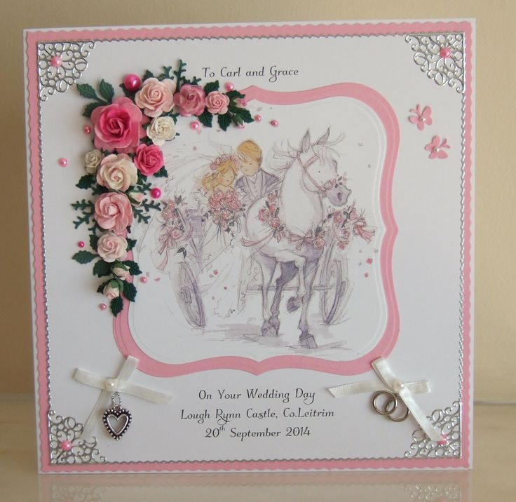 Wedding card with Lily of the Valley image.