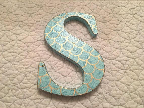 Mermaid Scales Single Hand Painted Initial Letter, Nursery/ Bedroom Decor, Photo…