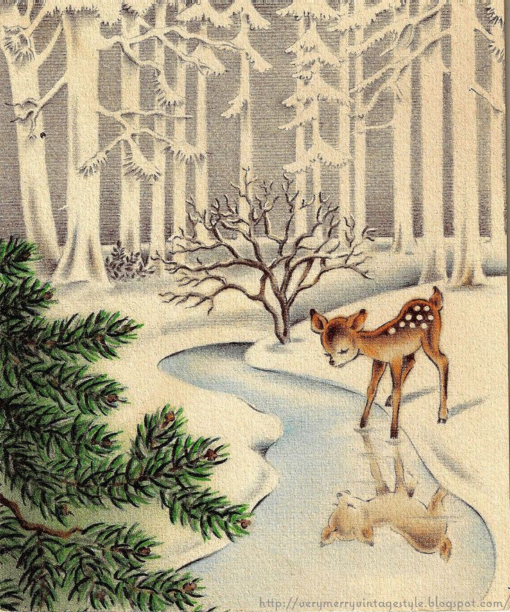 vintage winter Christmas card