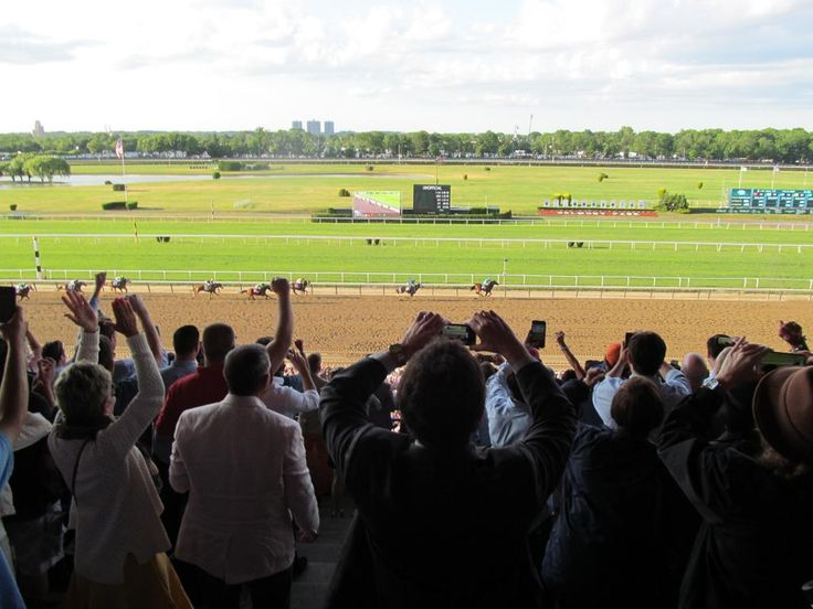 During the Belmont Stakes. American Pharoah on his way to winning the Triple Crown
