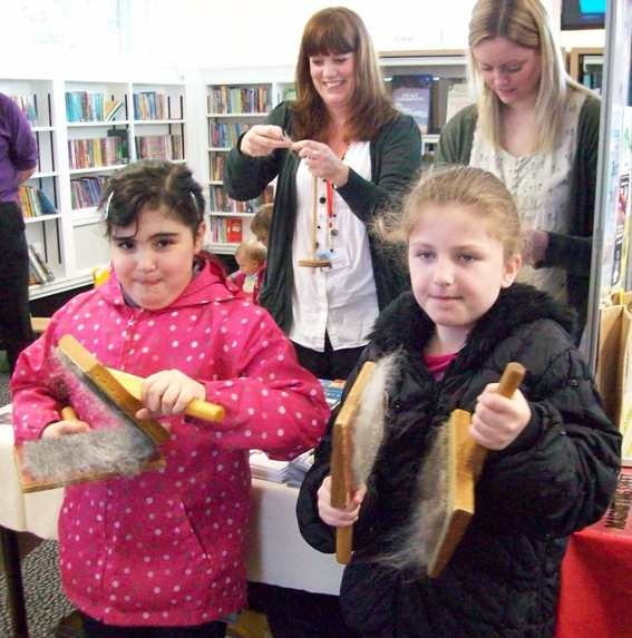 @Jennifer Agnew Libraries & Heritage   Bet you didn't know carding wool was such hard work? Cultural Awareness Day at Bamber Bridge Library