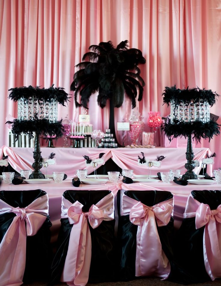 Black and pink...Black Feathered centerpieces -