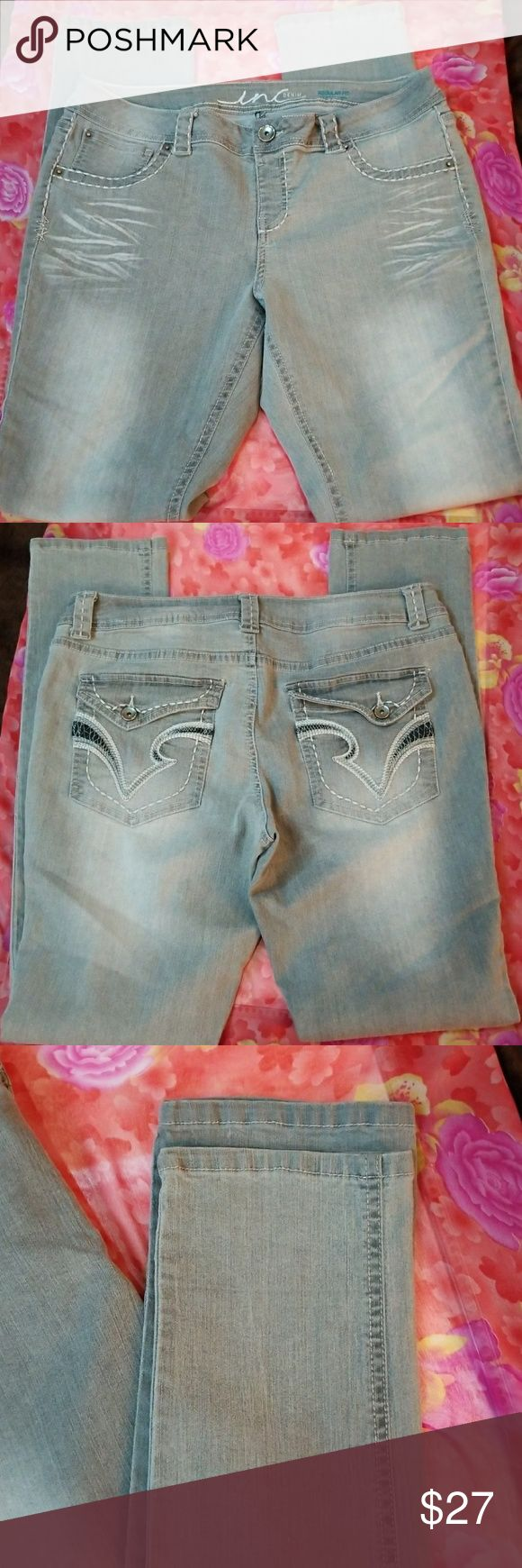 ♀️NWOT INC International Concepts Denim Jeggings♀️ Gray INC International Concepts Denim Jeggings Regular Fit Skinny Leg. Actual Measurements; Waist 32, Inseam 32, Outseam 40.5, Front Rise 9, Back Rise 15, Hips 40, Knee 14, Leg Opening 13. INC International Concepts Jeans Skinny