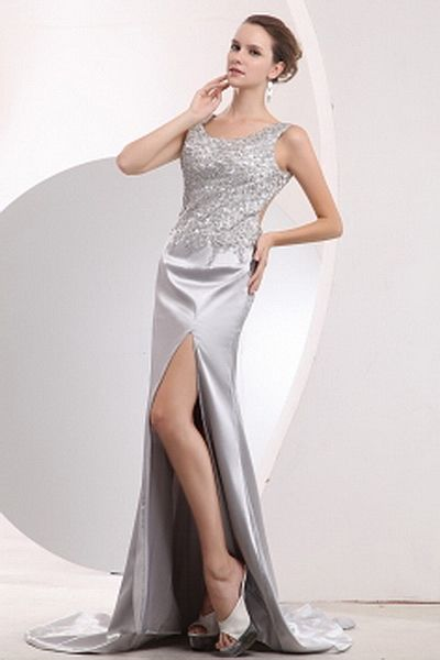 A-Line Satin Elegant Homecoming Gowns wr2035 - http://www.weddingrobe.co.uk/a-line-satin-elegant-homecoming-gowns-wr2035.html - NECKLINE: Scoop. FABRIC: Satin. SLEEVE: Sleeveless. COLOR: Silver. SILHOUETTE: A-Line. - 139.59