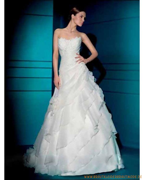 2013 Neue Brautmode aus Organsin schulterfreies gerafftes Korsett mit Spitzenschnur auf Rücken und asymmetrischer A-Linie Rock mit Kapelleschleppe