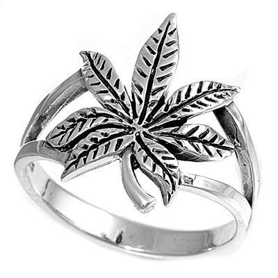 Women's Cannabis Leaf Ring..I would really dig this if it had a green or clear rhinestone in the middle!