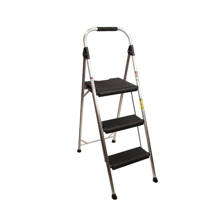 Werner 3 Step 250 Lbs Capacity Silver Aluminum Foldable Step Stool Lowes Com Step Stool Foldables Leather Chair With Ottoman