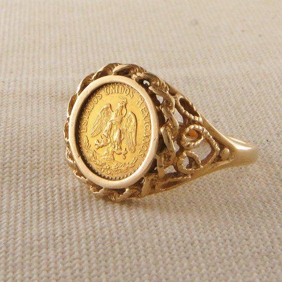 Dos Pesos Mexican Eagle Vintage Coin Ring Gold Coin Ring Coin Jewelry Jewelry Rings Diamond