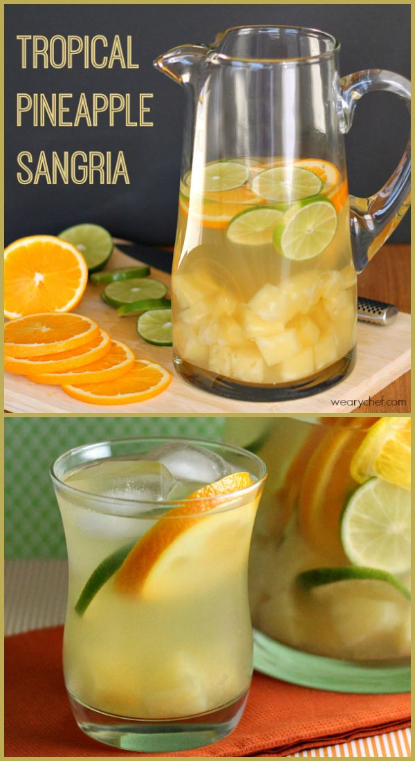 Tropical Pineapple Sangria - Moscato, a little coconut rum, pineapple juice and sliced oranges, limes and diced pineapple!