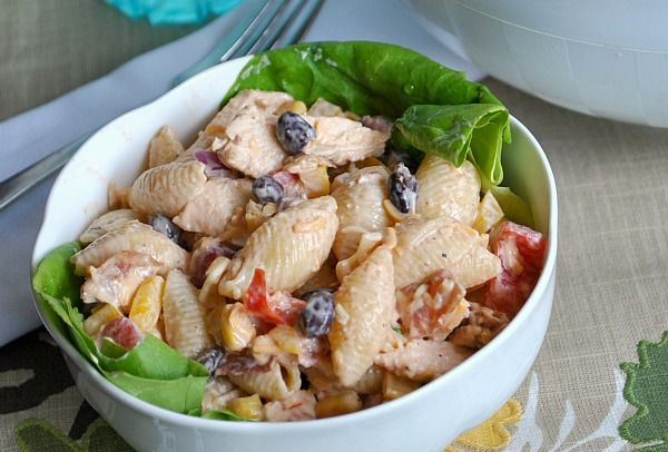 BBQ Chicken Southwestern pasta salad- so easy to make lower fat and calories