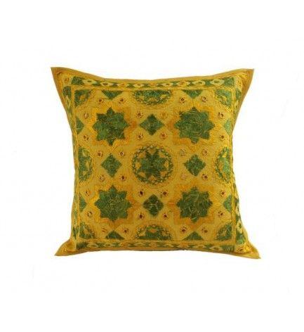 boho chic indian handmade embroidery mirror work pillow throw