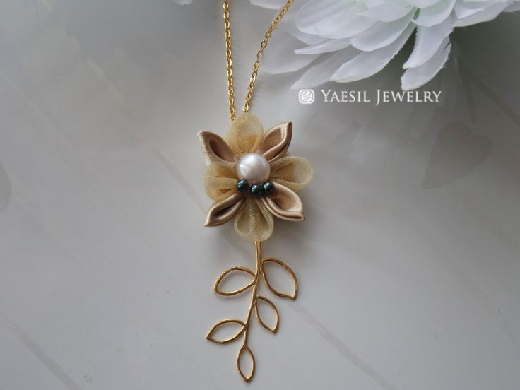 Gold Flower Necklace, Gold Leaf Necklace, One of a Kind Handmade Necklace by YaesilJewelry on Etsy