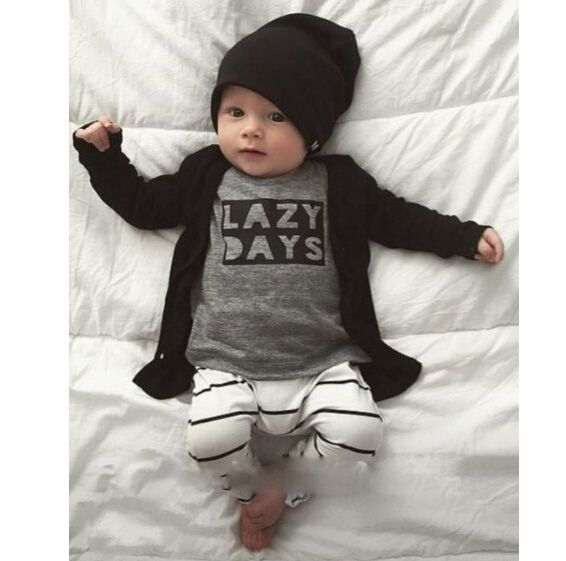 2016 Lente Herfst baby boy kindje kleding set katoen lange mouwen Brief t-shirt + broek Pasgeboren baby meisje kleding set