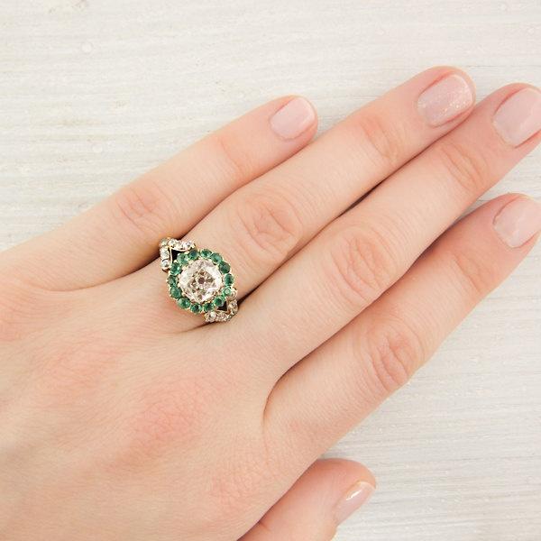 1.16 Carat Victorian Diamond and Emerald Engagement Ring. $9,600.00, via  Etsy.