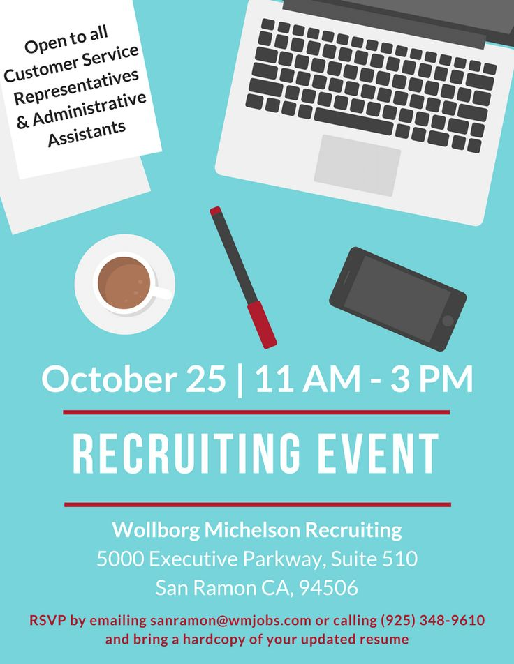 Recruiting Event for CSR and Administrative Assistant positions - hard copy of resume