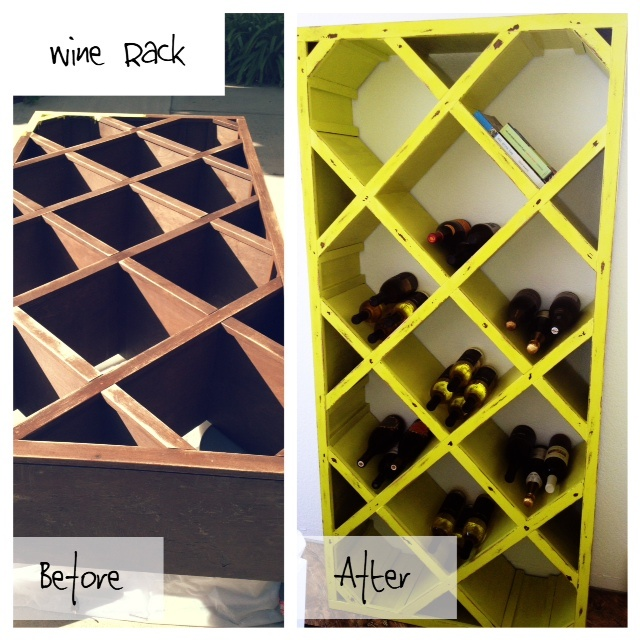 wine rack makeover add a pop of color to really turn a shabby piece chic