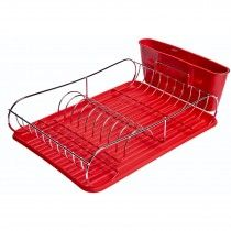Chrome Dish Rack Red with Tray